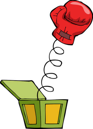 contentious: Boxing glove out of the box illustration