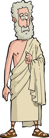 toga: Filósofo romano sobre un fondo blanco Ilustración
