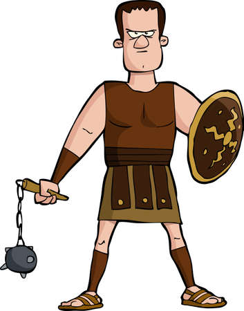 Roman gladiator on a white background illustration Ilustracja