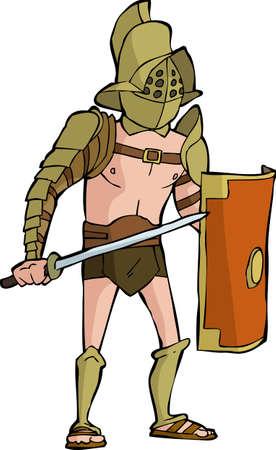 cascos romanos: Gladiador romano sobre un fondo blanco Ilustraci�n