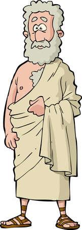 toga: Fil�sofo romano sobre un fondo blanco Ilustraci�n