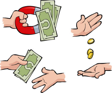 pay money: Set of hands with money illustration