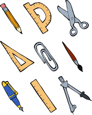 objet: Ensemble de fournitures de bureau sur un fond blanc illustration Illustration