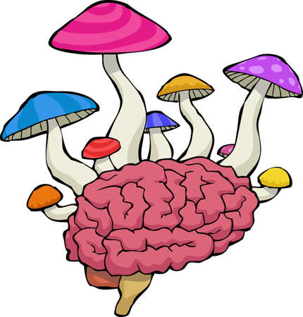 entheogen: Brain with mushrooms on a white background vector illustration