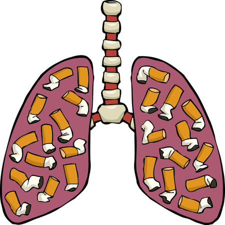 bronchus: Human lungs with cigarette butts vector illustration