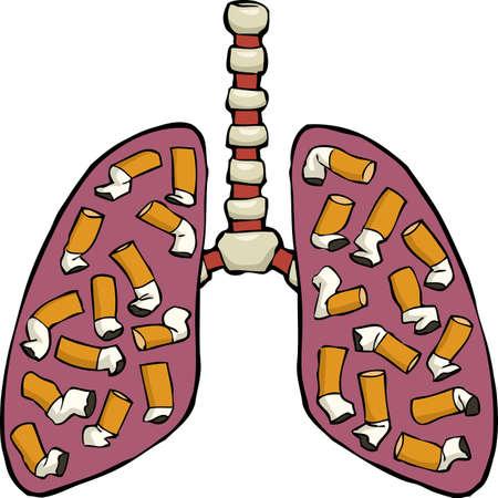 cancer de pulmon: Los pulmones humanos con colillas de cigarrillos ilustraci�n vectorial Vectores