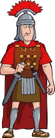 Roman officer on a white background vector illustration Vettoriali