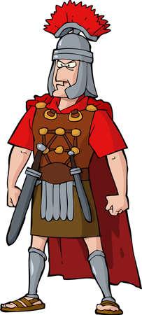 cartoon soldat: Römischer Offizier auf einem weißen Hintergrund Vektor-Illustration Illustration