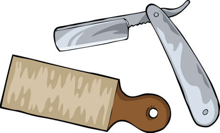 straight edge: Cutthroat razor on a white background vector illusration