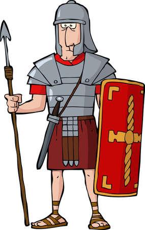 cascos romanos: Legionario romano sobre un fondo blanco ilustración vectorial Vectores