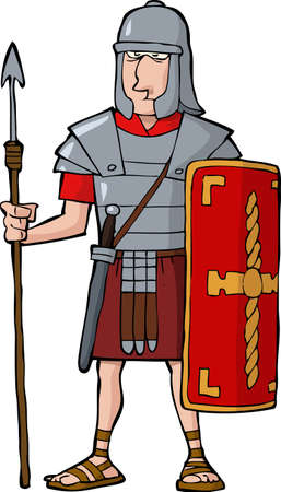 Roman legionary on a white background vector illustration Stock Vector - 21138279