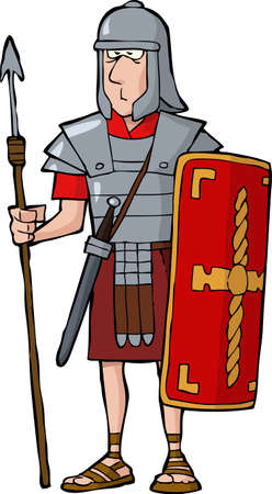 ancient soldiers: Roman legionary on a white background vector illustration Illustration
