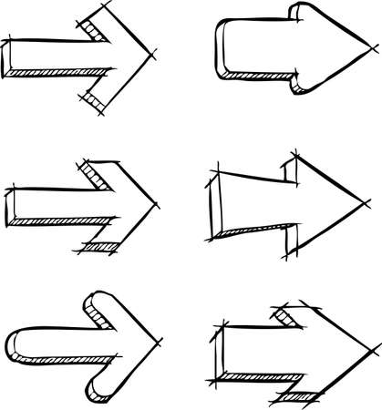 right hand: A set of arrows drawn vector illustration