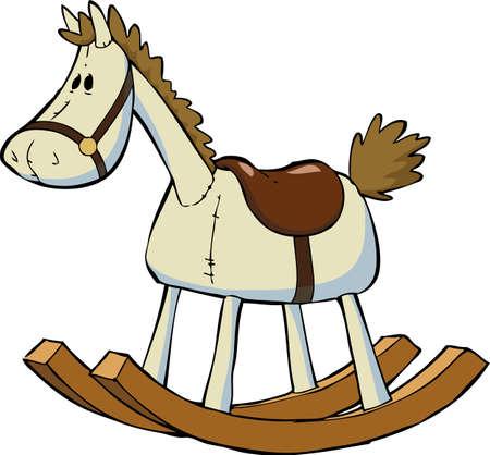 horse saddle: Giocattolo cavallo a dondolo su sfondo bianco illustrazione vettoriale