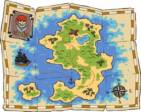 Un mapa del tesoro en un fondo blanco ilustración vectorial