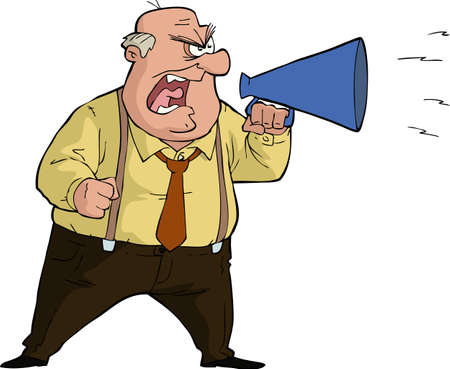 The boss yells into a megaphone vector illustration Stock Illustratie