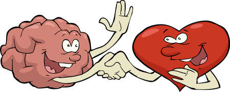 Cartoon friendship heart and brain vector illustration Illustration