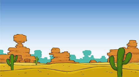 lifeless: A cartoon desert landscape illustration vector Illustration