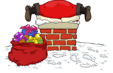 Santa Claus stuck in the chimney