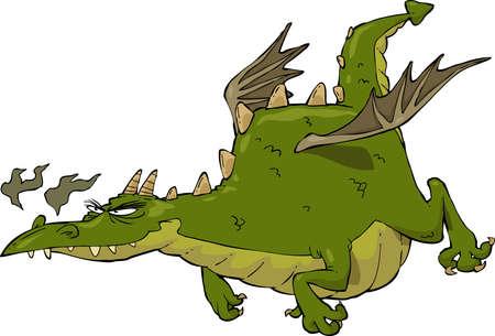 Green funny dragon in flight vector illustration Vector