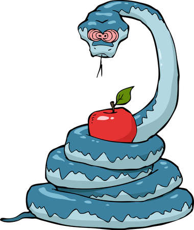 the tempter: Biblical serpent with an apple on a white background vector illustration Illustration