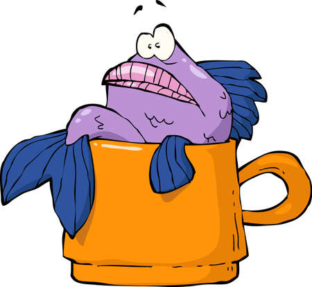 drink cartoon: Fish in a mug on a white background vector illustration