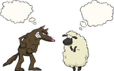 オオカミ対羊白い背景ベクトル イラスト