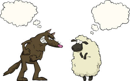 Wolf vs sheep a white background vector illustration