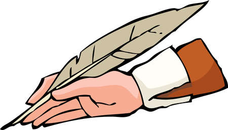 old writing: Hand with pen on white background vector illustration
