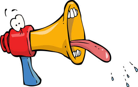 using mouth: Funny megaphone on white background vector illustration