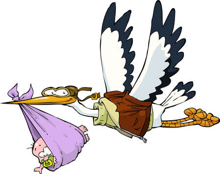 stork flying with bundle: Stork with baby on white background vector illustration
