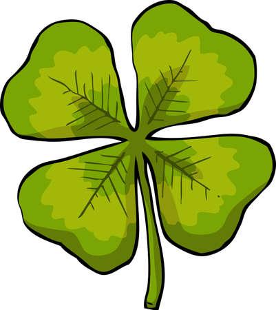 fourleaf: Leaf clover on white background vector illustration