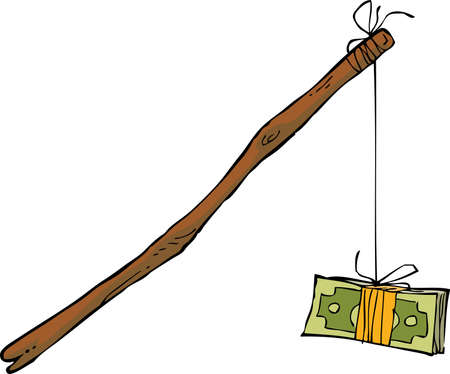 deceit: Money on a rope on a white background vector illustration