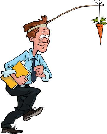 carrot: Office worker goes for carrot vector illustration Illustration