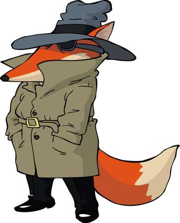 agent de sécurité: Spy renard sur fond blanc illustration vectorielle Illustration