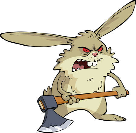 cartoon rabbit: Angry bunny with an ax vector illustration