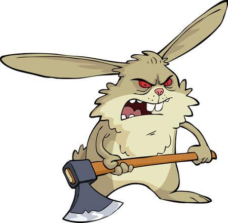 lapin cartoon: Lapin fâché avec une illustration de hache Illustration