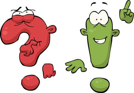 exclamation de bande dessinée et des points d'interrogation illustration vectorielle