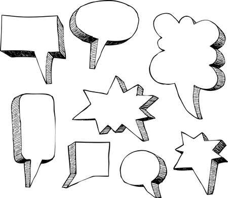 Set of comic speech bubbles vector illustration Vector