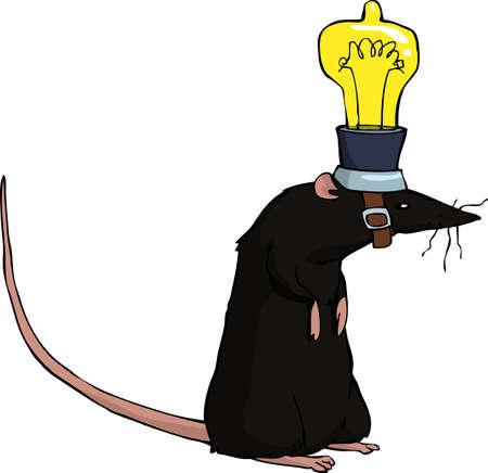 Rat with a light bulb on her head vector illustration Illustration