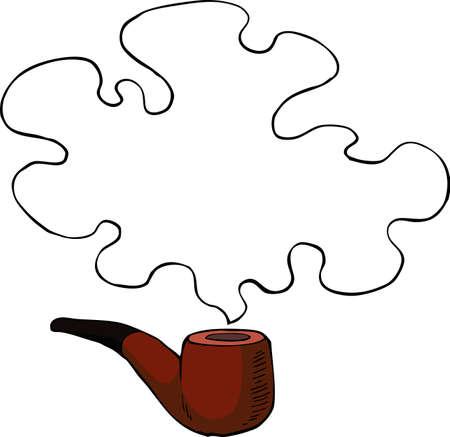 pipe smoking: Rauchen Rohr mit einer Rauchwolke Vektor-Illustration
