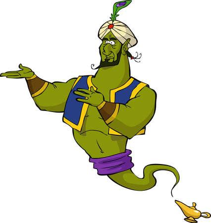Magic genie on white background vector illustration