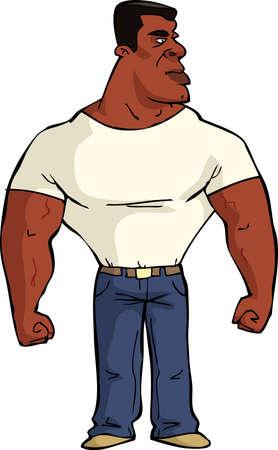 estereotipo: Hombre negro muscular en el fondo blanco ilustración vectorial