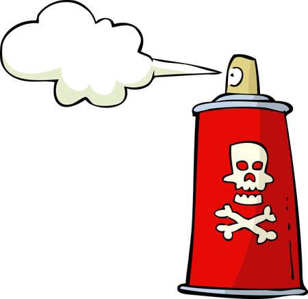 sustancias toxicas: Aerosol Veneno en el fondo blanco ilustración vectorial Vectores