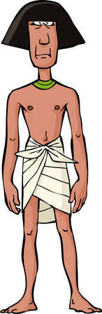 siervo: Esclava egipcia antigua sobre un fondo blanco ilustraci�n vectorial