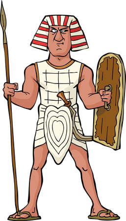 Ancient Egyptian warrior on a white background vector illustration Ilustracja