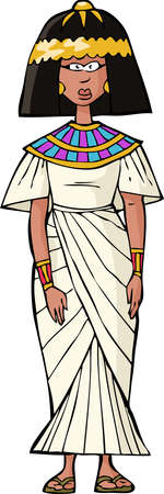 egyptian: Ancient Egyptian woman on white background vector illustration