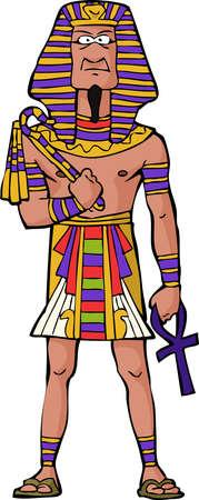 古代エジプトのファラオの白い背景ベクトル イラスト上