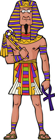 hombre: Faraón egipcio antiguo sobre fondo blanco ilustración vectorial