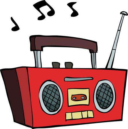 grabadora: Boombox sobre un fondo blanco Ilustración